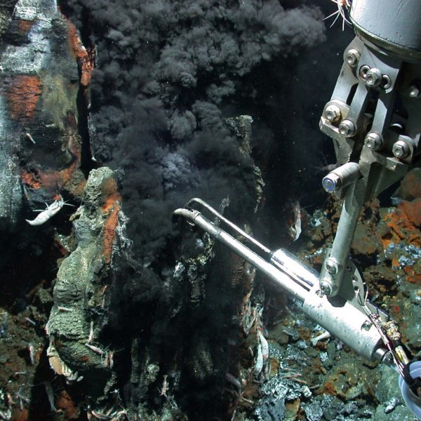 A black smoker is examined by a research instrument