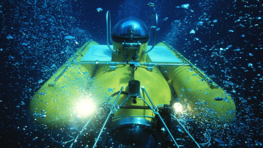The manned research submersible JAGO underwater in the sea