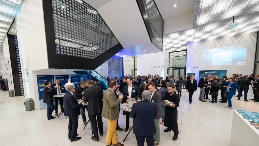 Foyer with participants of the launch event of the German Marine Research Alliance (DAM)