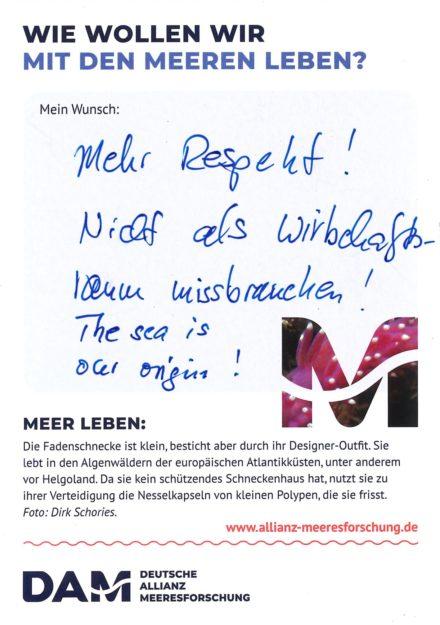 """Antworten auf die Wunsch-Postkarte der Deutschen Allianz Meeresforschung (DAM) """"Wie wollen wir mit dem Meer leben?"""" Die Wünsche beziehen sich auf Nachhaltigkeit, Schutz, Nutzung, Forschung, Artenschutz, Biodiversität und Meere ohne Plastikmüll."""
