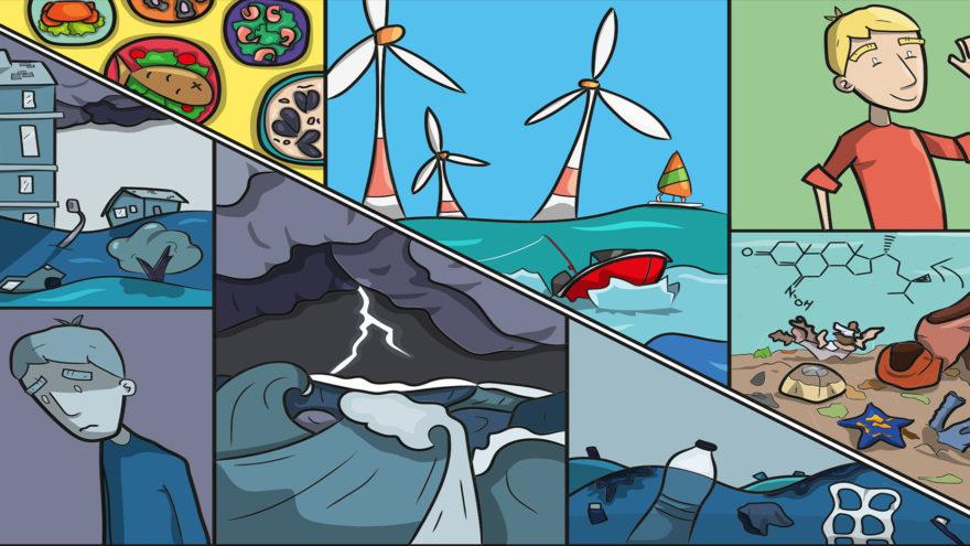 Schutz Meere und Ozeane Illustration zu Ozeane und menschliche Gesundheit. European Marine Board