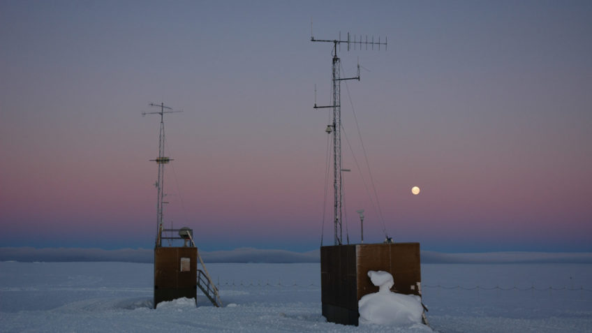 40 years AWI Center for Polar and Marine Research. Neumayer Station II in Antarctica with moon