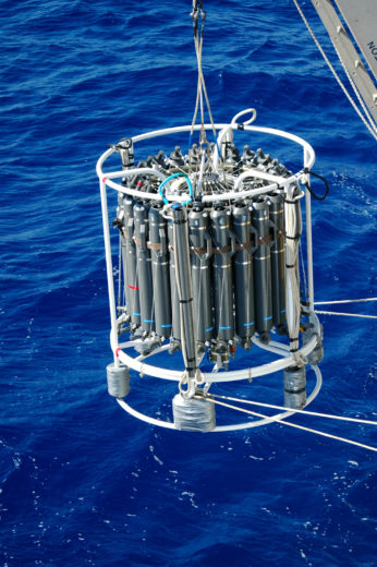 A so-called CTD-rosette being deployed to collect Atlantic Ocean Deep water samples