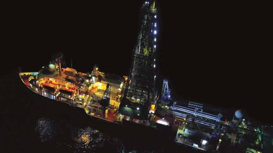 Night vision of the scientific drillship JOIDES Resolution