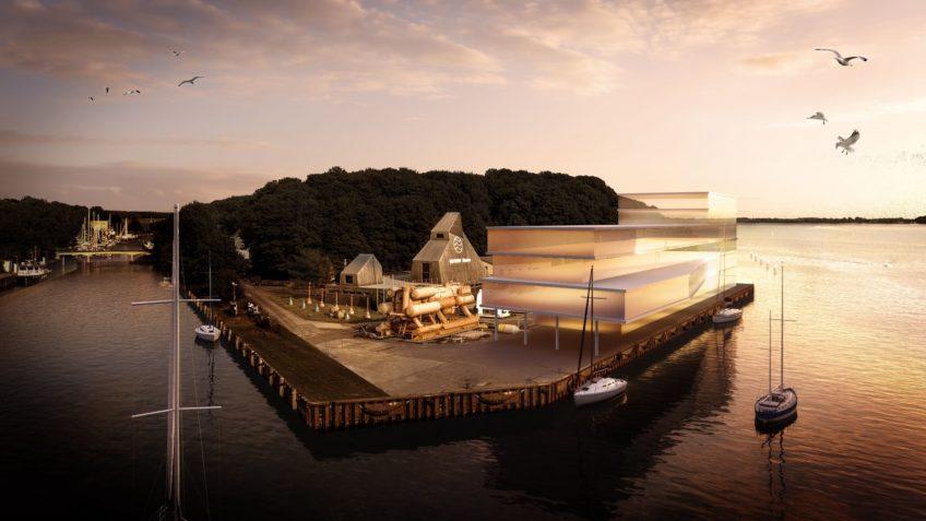 Visualisierung des Neubaus auf dem Dänholm