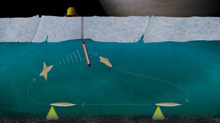 Einsatz der Station, der Eissonde und des kleinen autonomen Unterwasserfahrzeugs